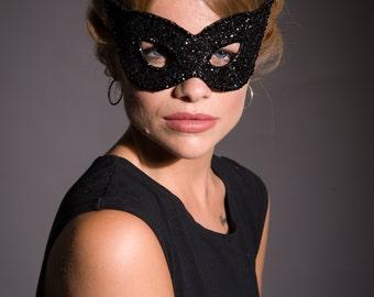 Masquerade mask, Cat woman mask, cat eye mask, black eye mask, diamante mask, fancy dress mask, black mask, Glitter Mask, Cat Woman