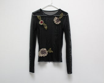 90's Black Mesh Floral Yarn Embroidered Sheer Top
