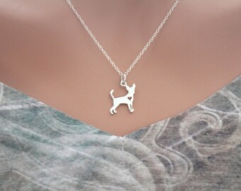 Sterling Silver Silhouetted Chihuahua Charm Necklace, Chihuahua Charm Necklace, Chihuahua Dog Necklace, Silver Chihuahua Puppy Necklace