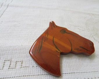 Vintage large wood horse head  hand made brooch pin 1940's folk art equestrian cowgirl