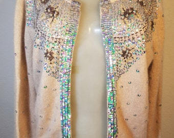 FREE  SHIPPING   Vintage Angora Sequin Cardigan