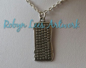Silver Computer Qwerty Keyboard Necklace on Silver Crossed Chain or Black Faux Suede Cord, Computer Tech