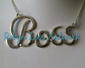 Huge Silver Boss Statement Word Necklace on Silver Crossed Chain, Costume