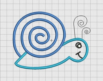 Snail Cartoon Applique Embroidery Design in 3x3 4x4 5x5 and 6x6 Sizes