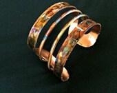 Copper cuff bracelet, copper bangle, flame painted copper bracelet, oxidized copper bracelet, oxidized copper cuff, fire torched copper