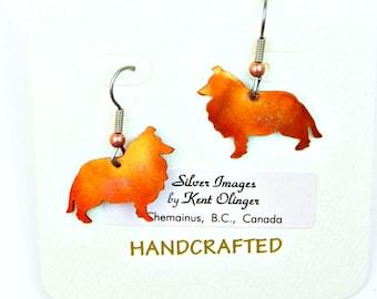 sheltie earrings, sheltie jewelry, shetland sheepdog, collie earrings, collie jewelry, dog jewelry, oxidized copper, flame painted copper