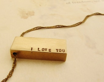 Personalized necklace, Personalized men's jewelry, I love you bar necklace, gift for him, gift for lover, Valentine's day