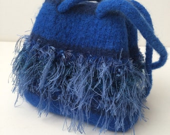 Hand-Knitted and Felted Wool Shoulder Bag in Blues