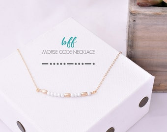 Morse Code BFF Necklace / BFF Morse Code Necklace / Best Friend Necklace / Hidden Message / Friendship Necklace / BFF Jewelry