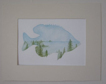 Sunfish Landscape - Original Watercolor Painting