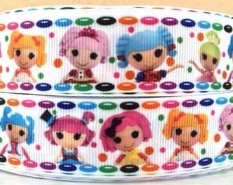 "3 Yards 1"" Lalaloopsy dolls Inspired-Grosgrain Ribbon-Hairbows-Supplies-Girls-Headbands-Fabric-Party Decor-Craft"