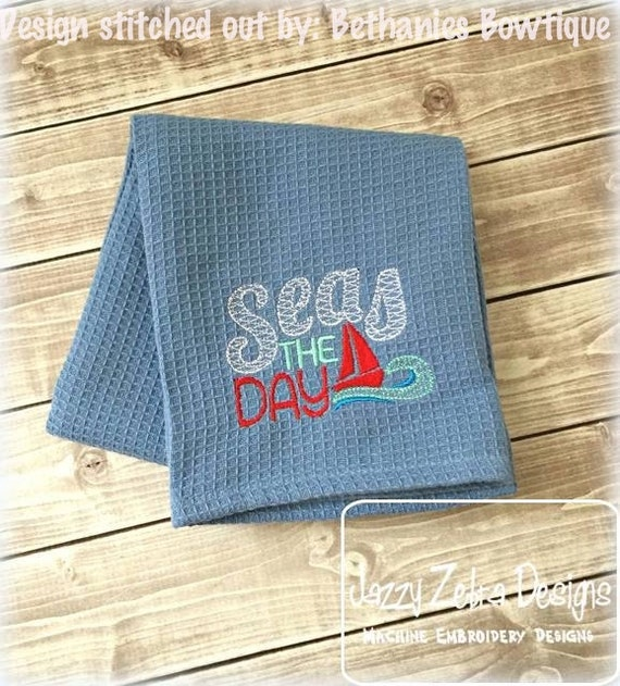 Seas the Day saying Embroidery Design - kitchen Embroidery Design - beach Embroidery Design - summer Embroidery Design