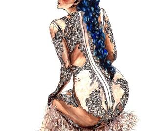 Reine de Rien, Givenchy Couture Fashion Illustration Wall Art Print