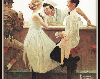 Norman Rockwell Art Print, 8 x 10, After the Prom, 1957 Vintage Book Plate Illustration, Paper Ephemera, Ready to Frame