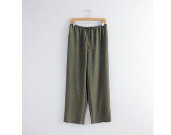 olive green silk pants / wide leg silk pants /  baggy silk pants
