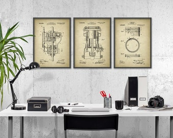 Chevrolet Patent Print Set Of 3 - Automobile Parts Design - Garage Mechanic - American Car Industry - Automobile Patent Design