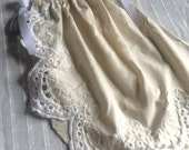 9 to 12 month Baby Girl Pillowcase Style Dress Vintage Cream Linen with Ivory Side Lace Flower Girl Dress Easter Baby Special Occasion Dress