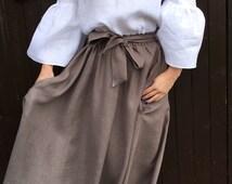 Maxi linen skirt with pockets, Maxi flax skirt, Summer skirt with pockets, Brown linen skirt, Maxi skirt with pockets, Handmade linen skirt