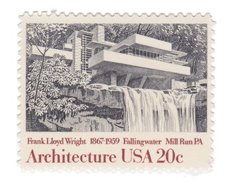 1982 20c Falling Water by Frank Lloyd Wright - American Architecture Series - 10 Unused Vintage Postage Stamps - Item No. 2019