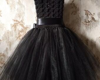 Black tutu dress, birthday tutu dress, crochet tutu dress, corset tutu dress