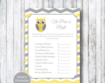 Price is Right Game - PRINTABLE Yellow Chevron Owl Theme - Baby Shower Game Activity - Gender Neutral - Orange Red - Grey Gray