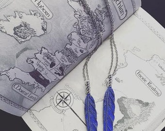 ACOMAF Rhysand Inspired Blue Feather Necklace