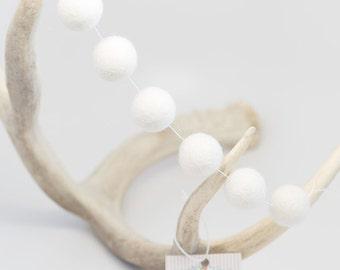White Poms -White Felt Ball Garland -White Wool Pom Poms -White Felt Bead garland -Banner, Bunting, Garland - Mantel Decor - 2 cm wool balls