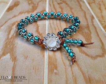 green czech glass bracelet-goddess bracelet-green beaded bracelets-green beaded leather bracelet-leather bracelets-green bracelet