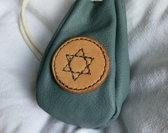 Turquoise drawstring leather pouch, with six-pointed star motif