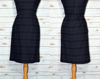 "Darling ""Audrey"" Dress in Black Cotton Eyelet, 1950s or 60s, Size Small to Medium"