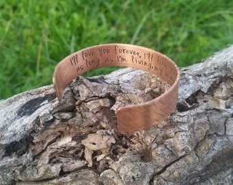 Copper or Aluminum 1/2  Inch Wide Hand Stamped Cuff Bracelet with Quote - Anniversary Wedding Metal Hammered Bangle Date Handstamped Wife