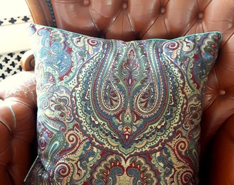 Velvet Paisley decorative pillow cover dark blue