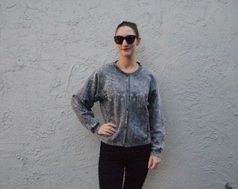Stone wash sweater with 90's designs