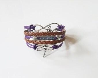 Love Faith Dragonfly Purple Brown Cord Bracelet