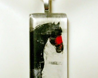 Black and red horse art pendant and chain - HGP02-025