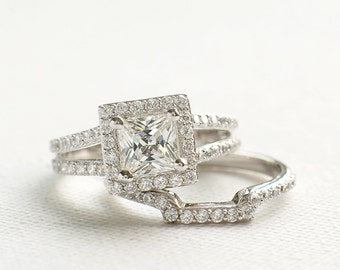Princess Cut Ring Set - Sterling Silver Ring Set - Silver Engagement Ring Set - Double Band Ring - 925 cz Ring