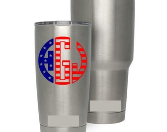 stars and stripes monogram fourth of july 4th america patriotic tumbler decal