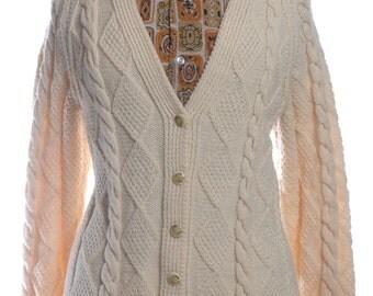 Vintage Aran Cream Cable Knit Cardigan 12 & Below - www.brickvintage.com