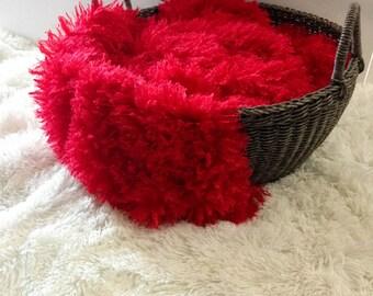 Red Shaggy Faux Fur , Newborn Photo Prop, Baby Photo Prop, Toddler Photo Prop, Thick Plush Faux Fur,Basket Stuffer.