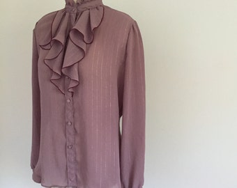 Vintage 1970s Semi Sheer Blouse Ruffle Collar Pin Stripe Button Down Purple Size Small/Medium