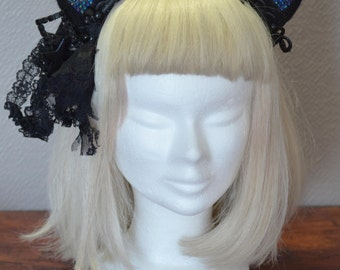 Cat ears headpiece in black and pink ( reduced 70%)