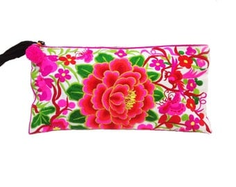 Flowers Wristlet Clutch Hmong Embroidered Fabric (WR03-WPI)