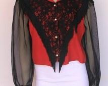 90s' Vintage Red & Black Sheer Sleeve Fringe Rodeo Queen Crop Blouse