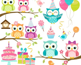 Owls Clipart 'BIRTHDAY OWLS' Clip Art. Digital Owls Clipart. Owl PNG Images. Owl Clipart. Owl Birthday Invitation. Birthday Clipart