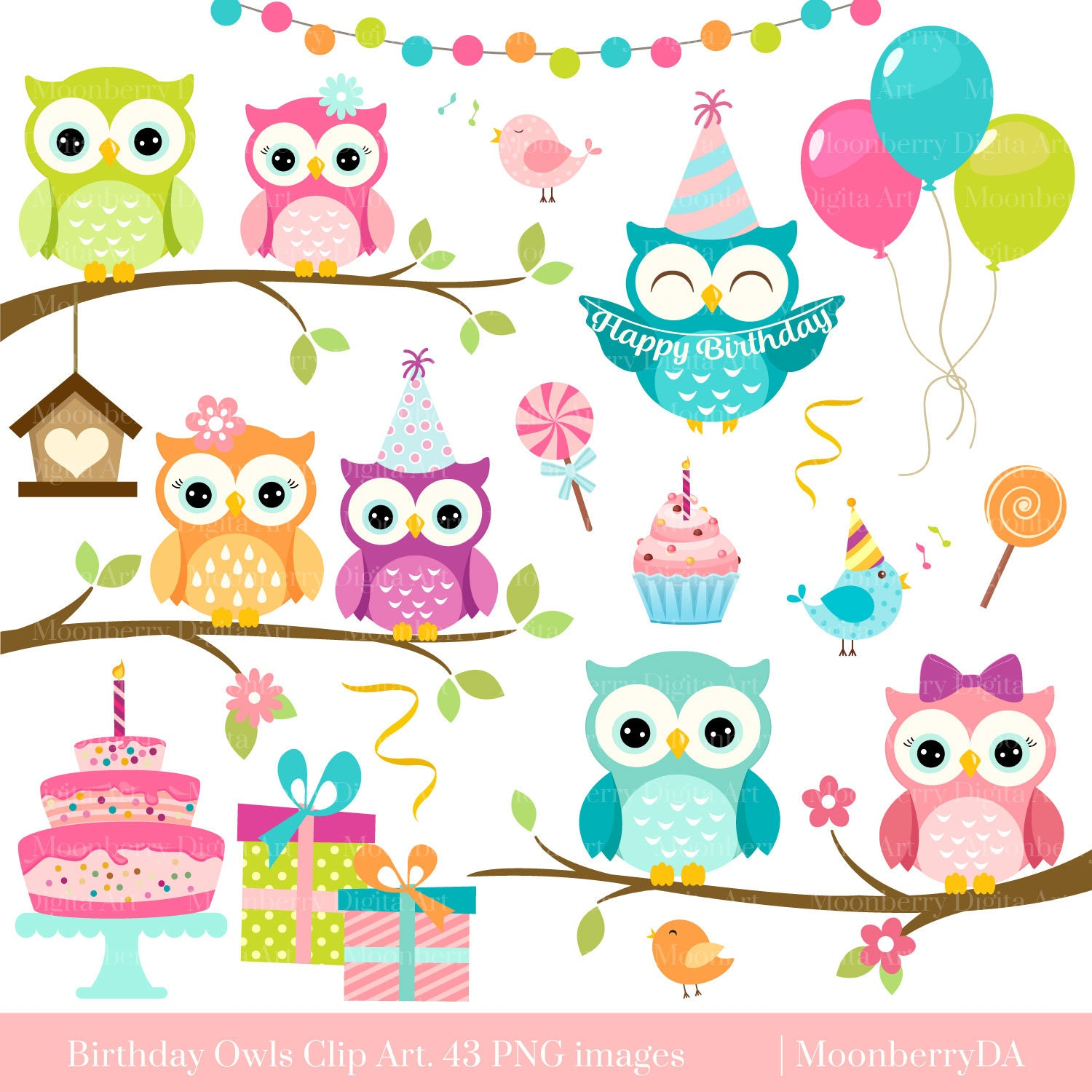 Owls Clipart 'BIRTHDAY OWLS' Clip Art. Digital Owls