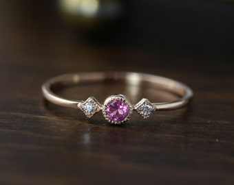 14k rose gold pink tourmaline and diamond ring, three stone engagement, october birthstone, gift for her, dainty ring, sta-r103-ptou