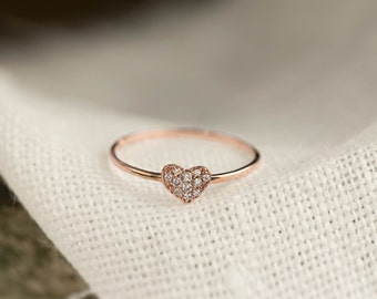 Diamond pave heart ring, 14k 18k rose gold diamond cluster ring, valentine's day, mother's day, bridal ring, love ring, hea-r103-dia