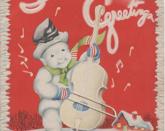Used 1950s Christmas Card, Seasons Greetings, Snowman playing a bass, good shape
