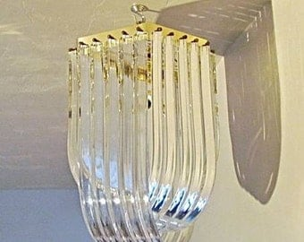 Mid-Century Modern Hollywood Regency Lucite & Brass Ribbon Chandelier