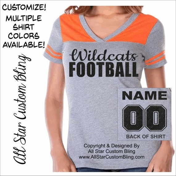 Custom football team vneck shirt with custom by for Personalized football t shirts